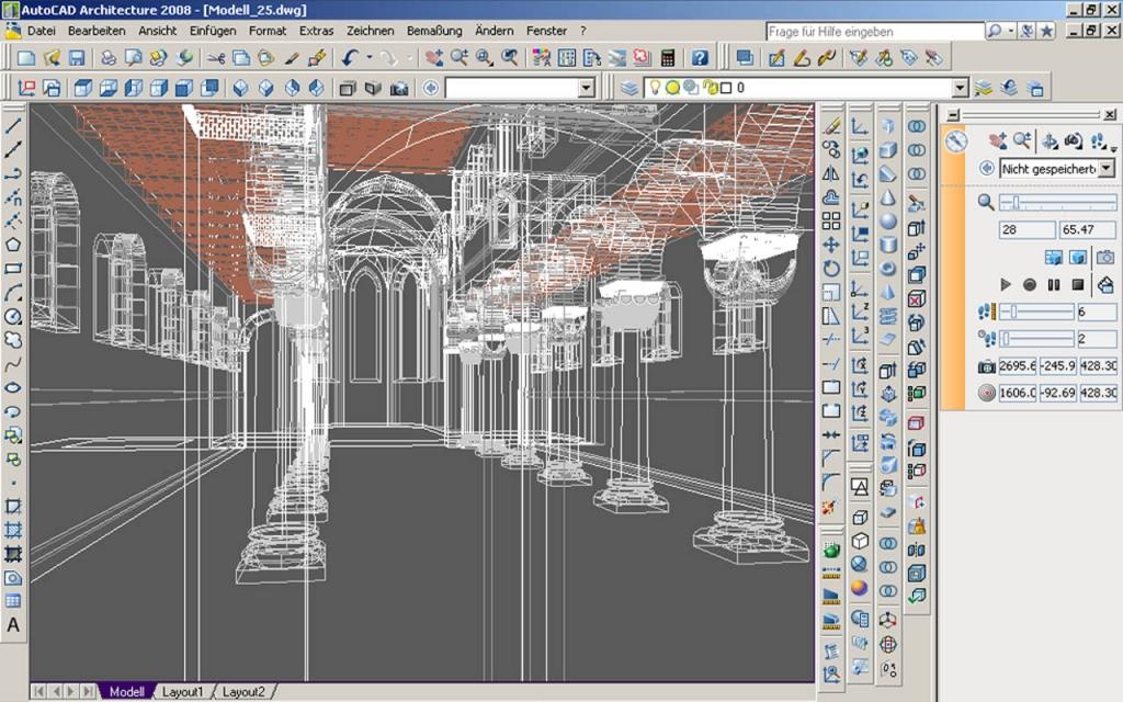 Virtuelles Abbild des Innenraumes der Klosterkirche im CAD-Programm.